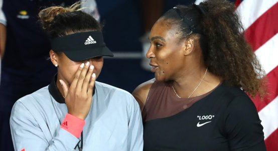 Naomi Osaka crying with Serena Williams