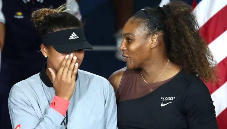 Naomi Osaka crying with Serena Williams