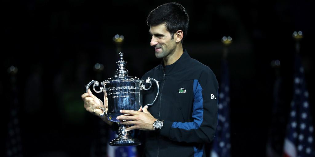 Novak Djokovic with US Open trophy