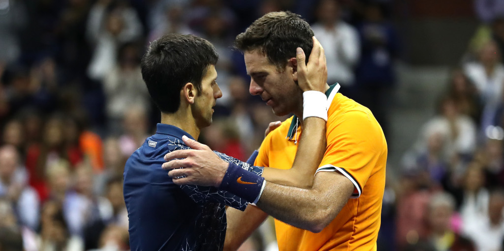 Novak Djokovic and Juan Martin del Potro hugging