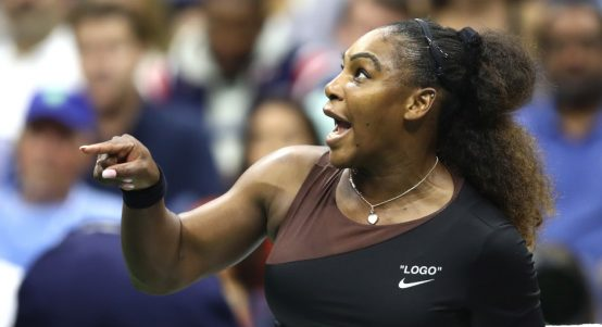 Serena Williams pointing