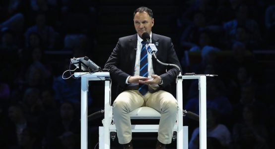 Chair umpire Mohamed Lahyani officiating