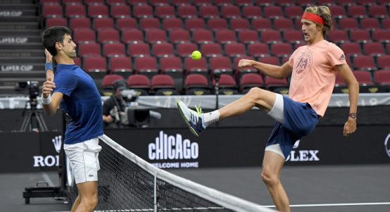 Novak Djokovic and Alexander Zverev playing football tennis