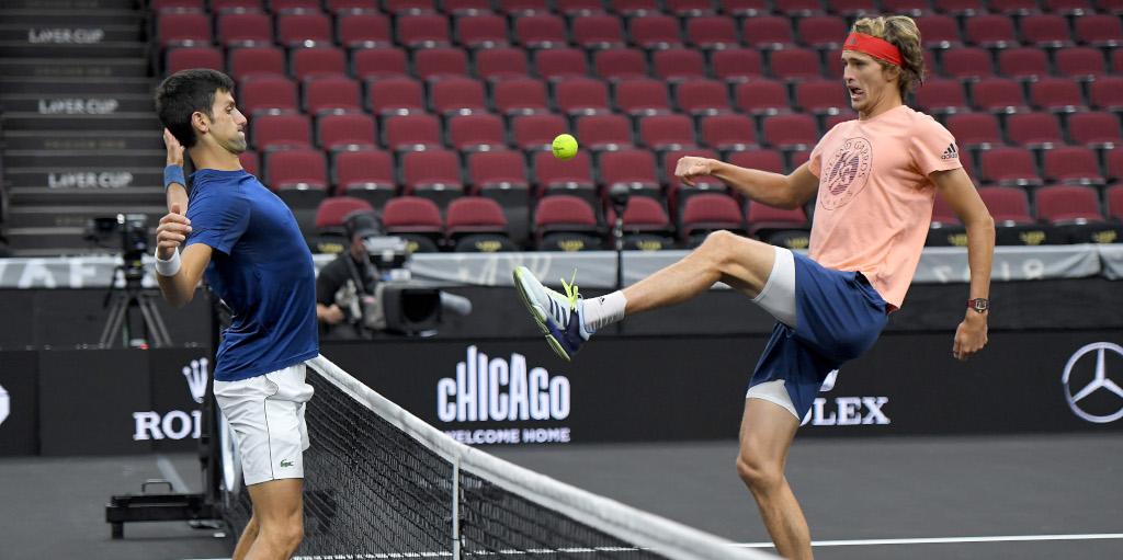Novak Djokovic and Alexander Zverev playing football tennis