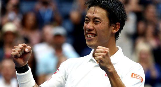 Kei Nishikori celebrates
