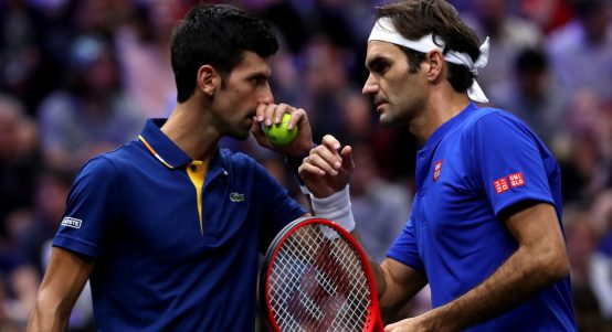 Novak Djokovic and Roger Federer in action