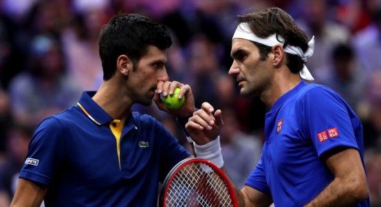 Novak Djokovic and Roger Federer in action