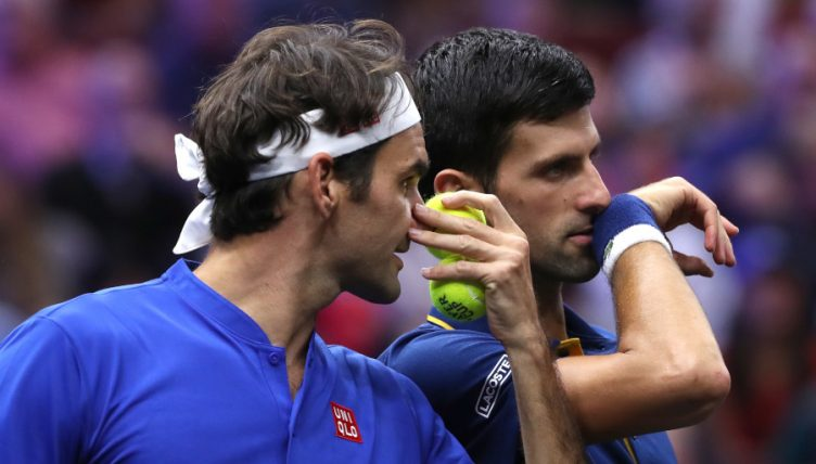 Roger Federer and Novak Djokovic talking tactics