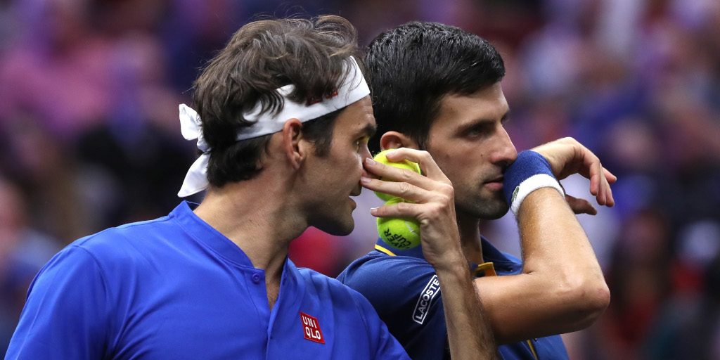 Roger Federer and Novak Djokovic talking tactics