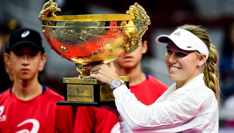 Caroline Wozniacki celebrates