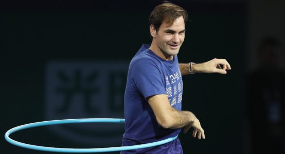Roger Federer hula hooping