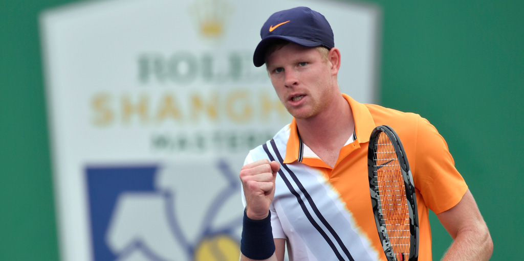 Kyle Edmund celebrates at Shanghai Masters