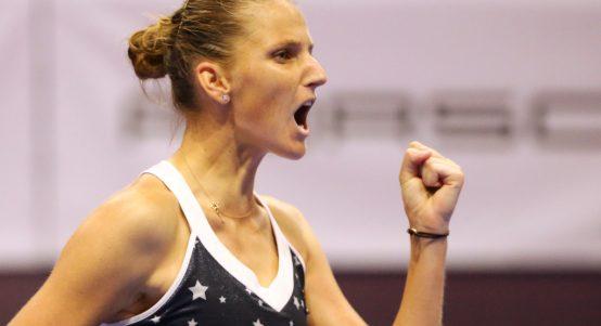 Karolina Pliskova celebrates