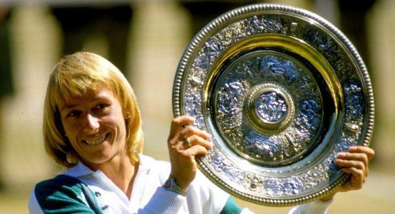 Martina Navratilova with Wimbledon trophy
