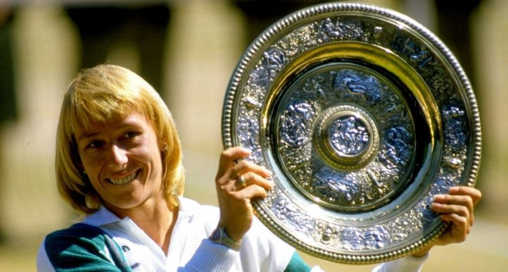 Martina Navratilova with Wimbledon trophy