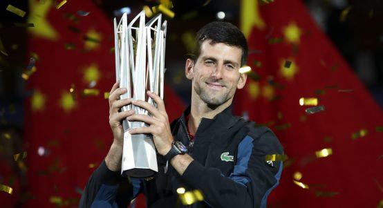 Novak Djokovic with Shanghai Masters trophy
