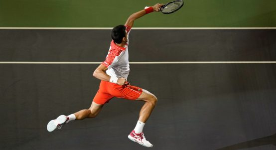 Novak Djokovic jumping