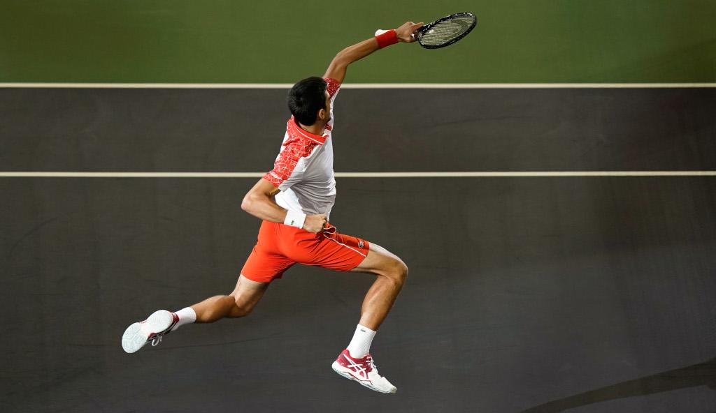 Novak Djokovic jumping