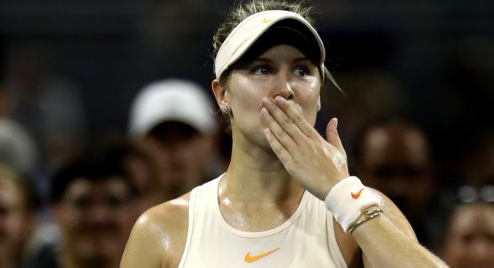 Eugenie Bouchard celebrates