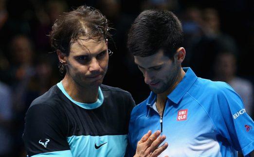 Rafael Nadal and Novak Djokovic in actin