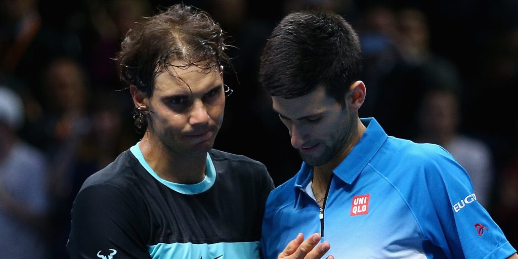 Rafael Nadal and Novak Djokovic in actin