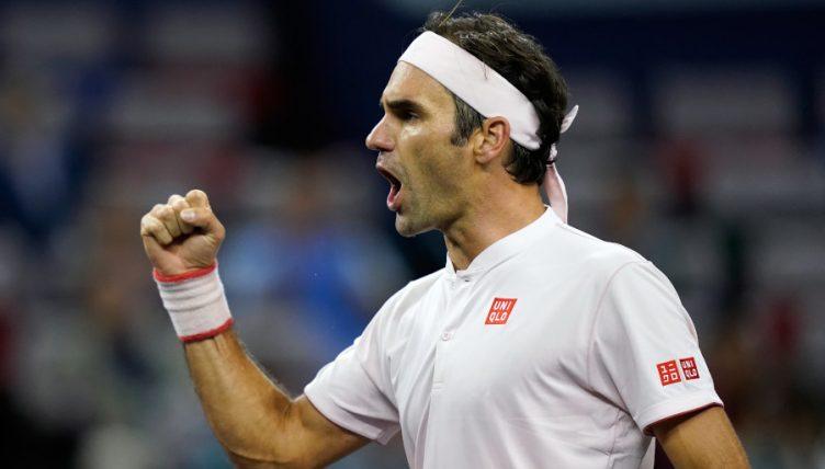Roger Federer celebrates