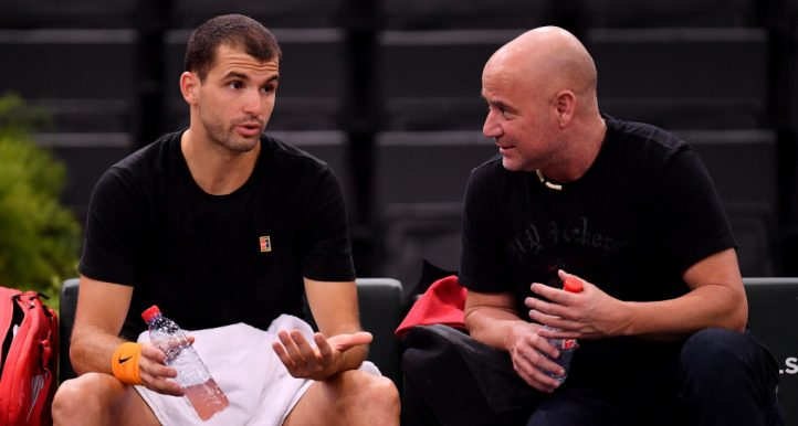 Grigor Dimitrov and Andre Agassi talking