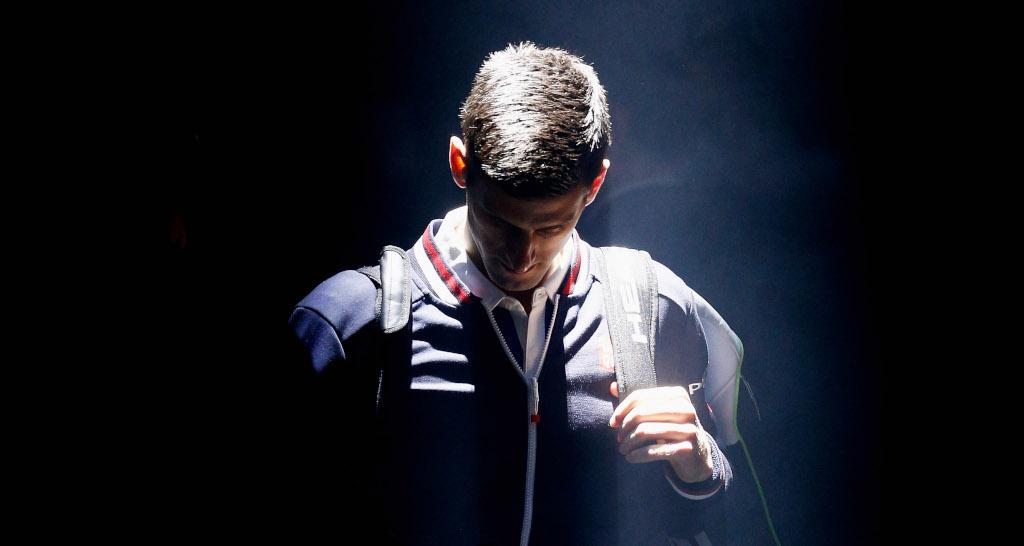 Novak Djokovic arriving on court