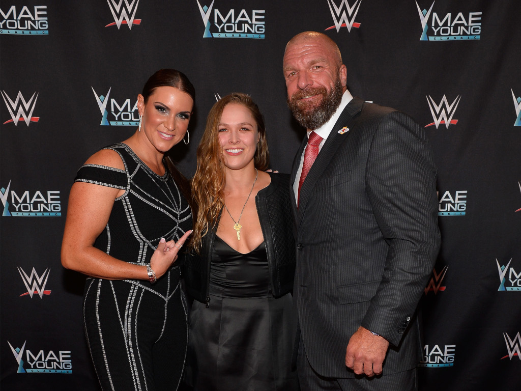 Stephanie McMahon Ronda Rousey and Paul Levesque