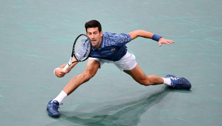 Novak Djokovic on the run