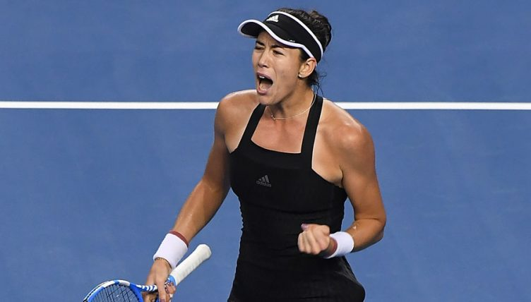 Garbine Muguruza celebrates at WTA Elite Trophy