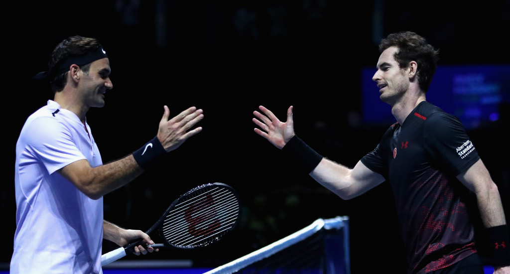 Roger Federer and Andy Murray shaking hands