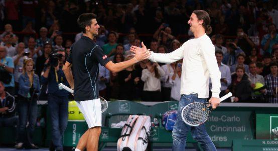 Novak Djokovic and Zlatan Ibrahimovic playing tennis