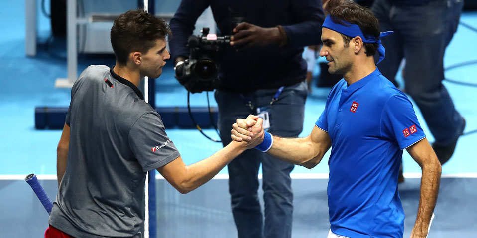 Roger Federer and Dominic Thiem at the ATP Finals