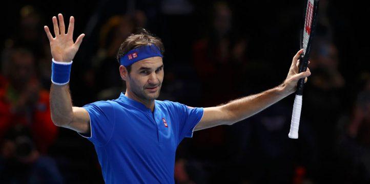 Roger Federer celebrates at ATP Finals