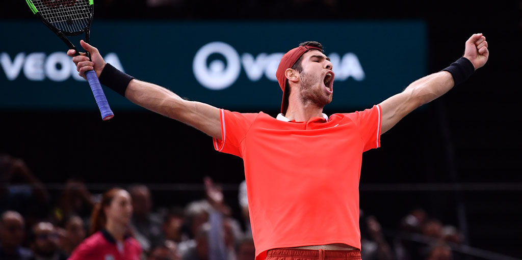Karen Khachanov celebrates