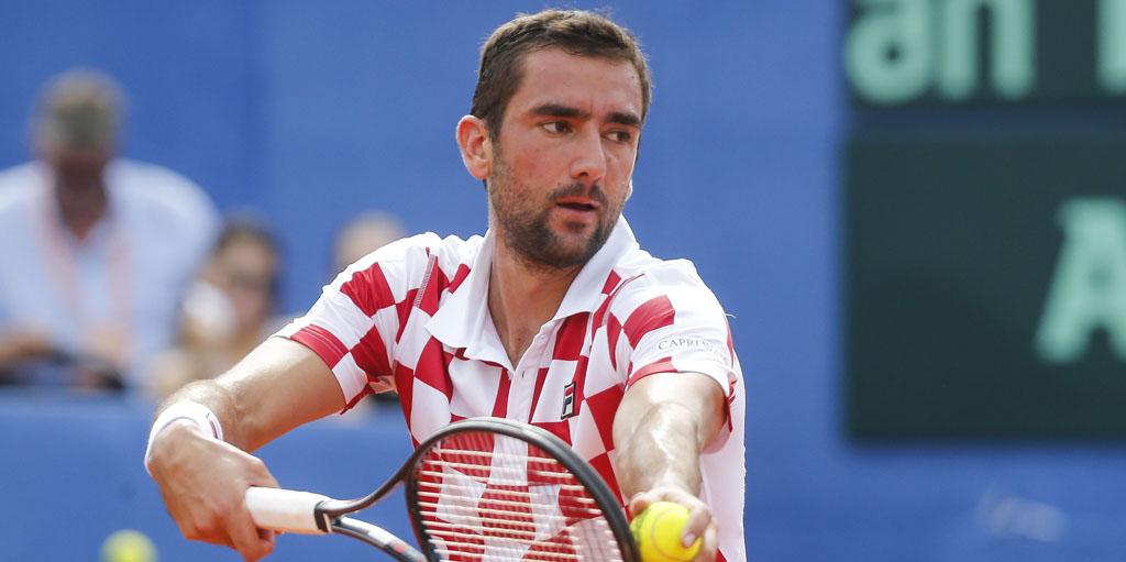Marin Cilic serves at Davis Cup