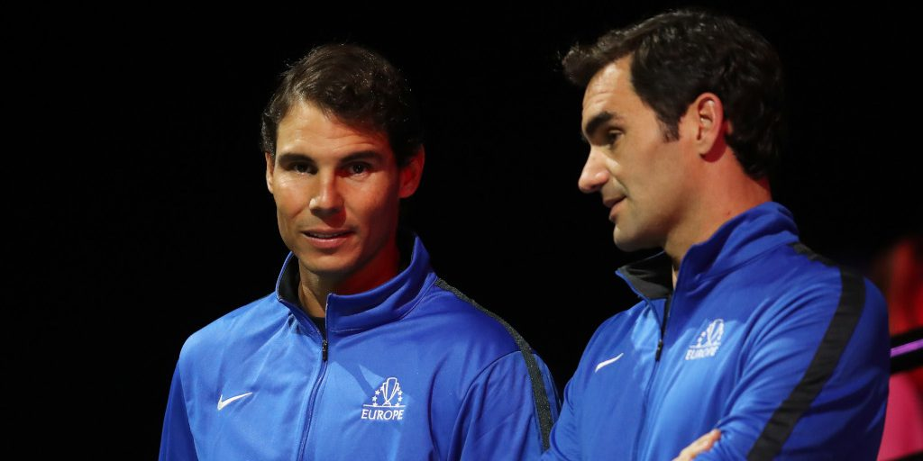 Rafael Nadal and Roger Federer in discussion