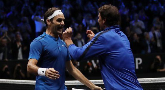 Roger Federer and Rafael Nadal celebrate