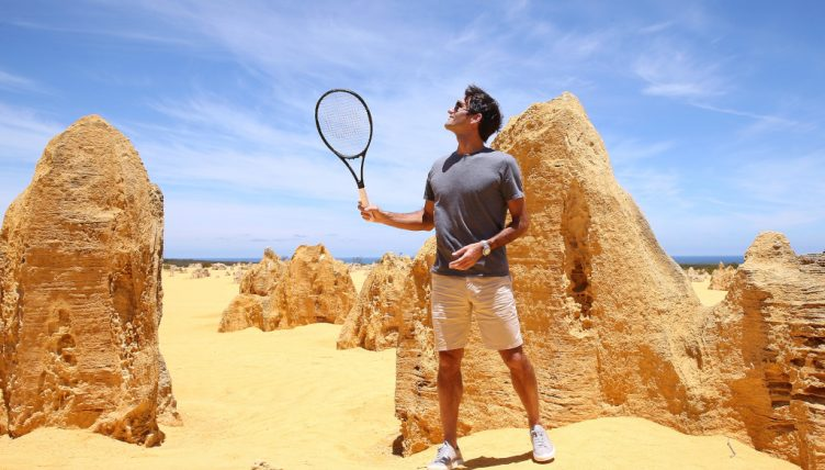 Roger Federer playing tennis in Pinnacles Desert