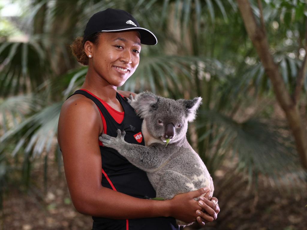 Naomi Osaka with a koala