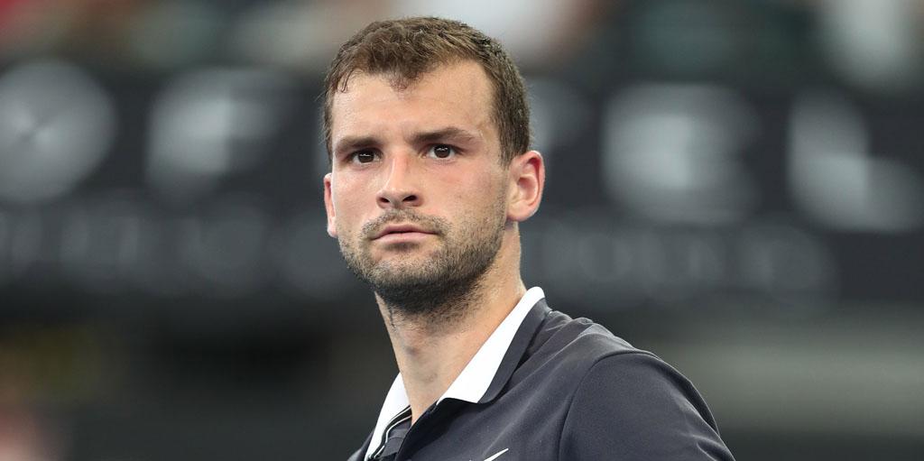 Grigor Dimitrov reacts at Brisbane International