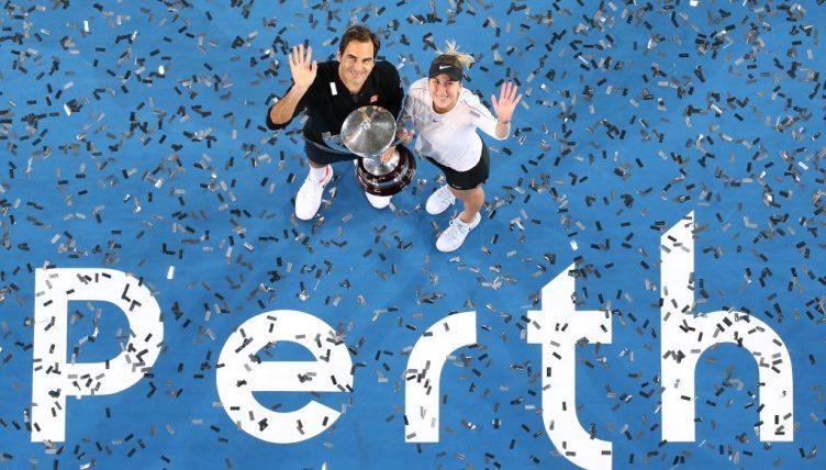 Roger Federer and Belinda Bencic Hopman Cup winners