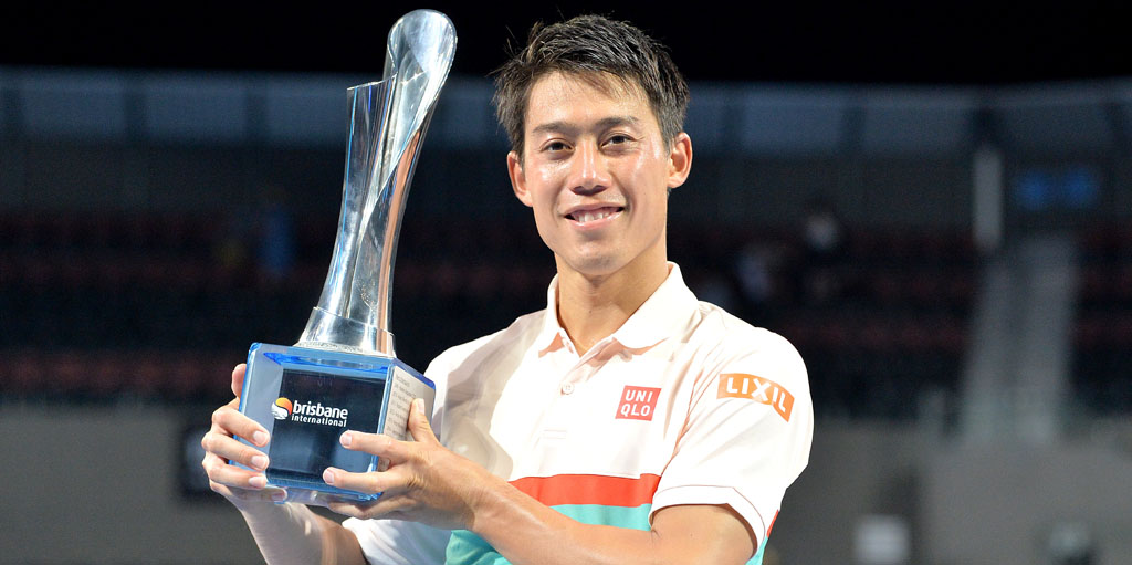 Kei Nishikori with Brisbane International trophy