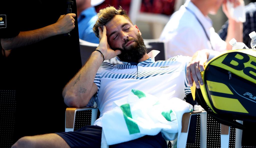 Benoit Paire taking a nap