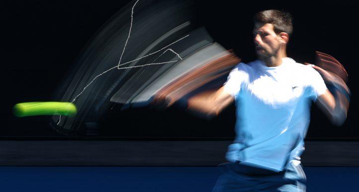 Novak Djokovic practice