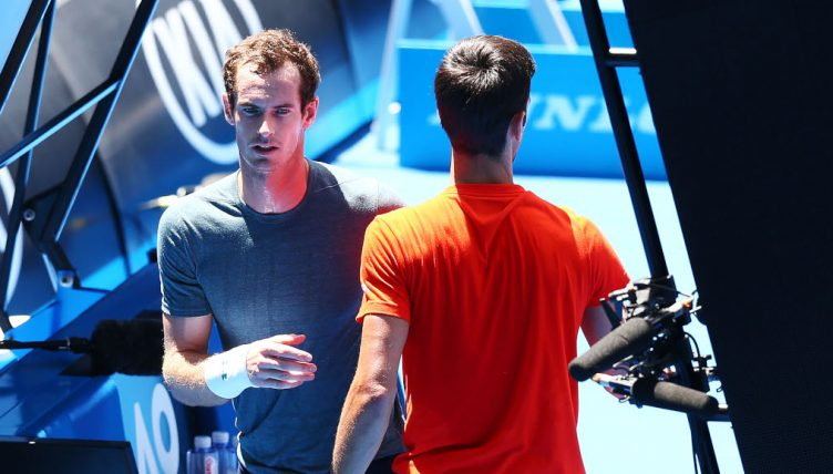 Andy Murray and Novak Djokovic practice match