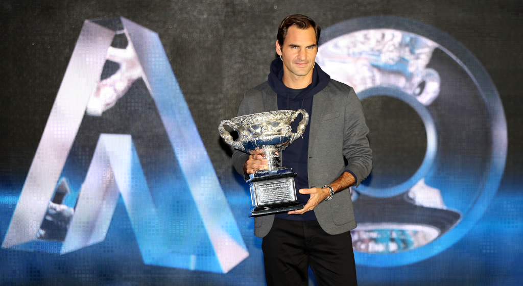 Roger Federer with Australian Open trophy