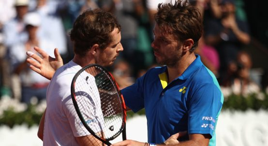 Andy Murray consoled by Stan Wawrinka