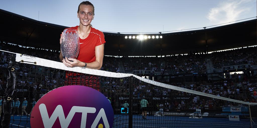 Petra Kvitova with Sydney international trophy